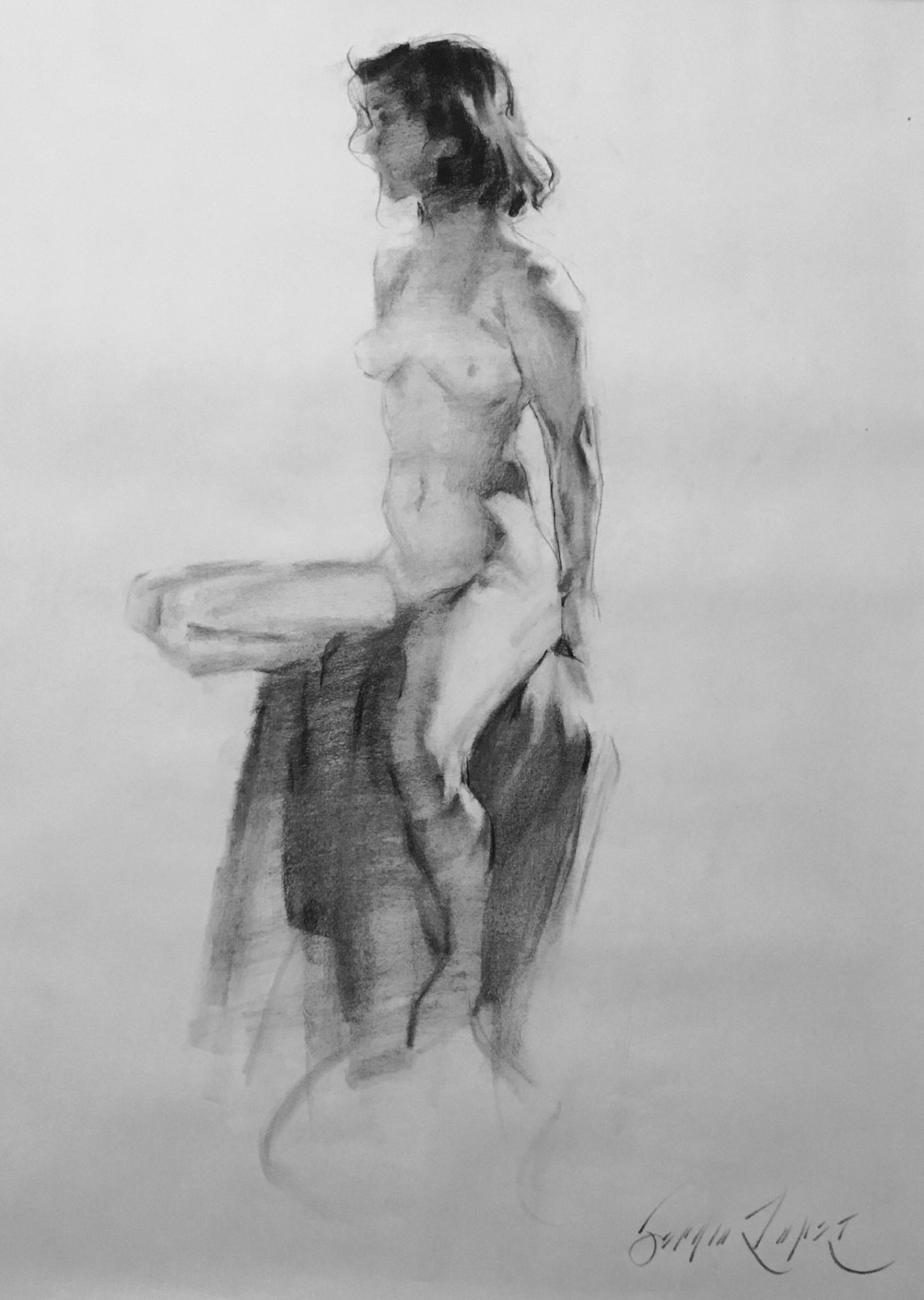 "Classical Pose, charcoal on paper, 18"" x 24"""