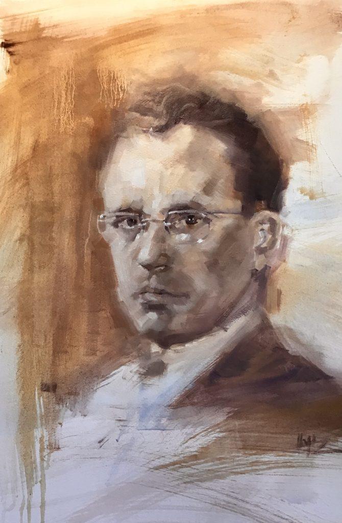Portrait painting of Tommy Douglas