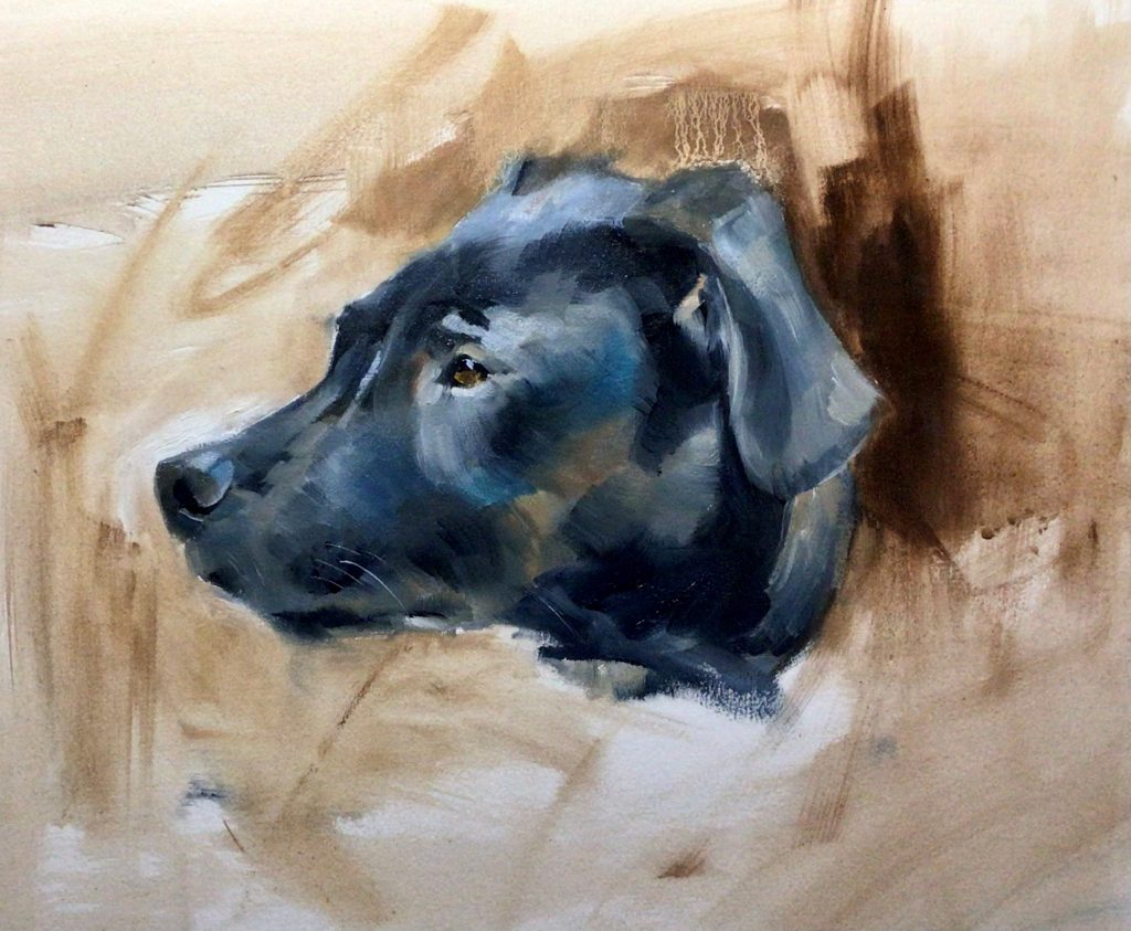Painting of a black lab dog