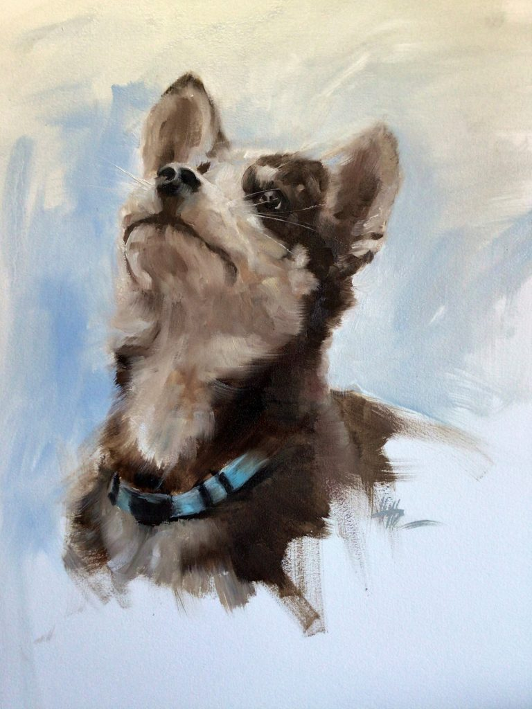Painting of a puppy
