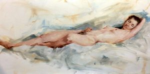 Painting of a woman in recline